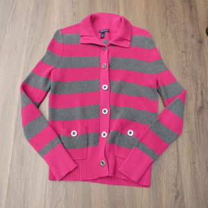 Tommy Hilfiger Fab Pink Grey Sweater Button Up